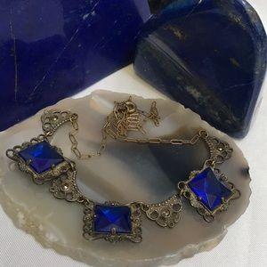 Brilliant Blue Czech Glass & Marcasite Necklace